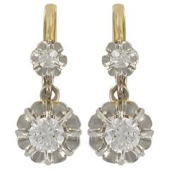 French 19th Century Diamond Gold Drop Earrings