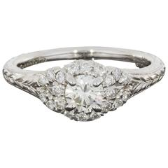 Round Diamond Halo Engraved Shank Engagement Ring