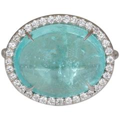 8.95 Carat Brazilian Paraiba Tourmaline Diamond Gold Ring