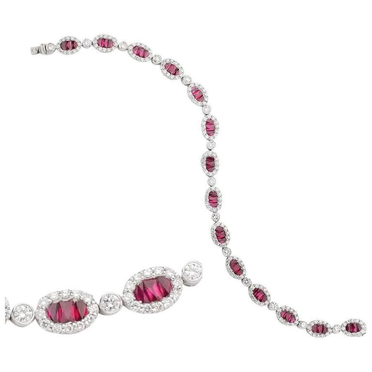 Ruby and Diamond Tennis Bracelet 9cts White Gold  For Sale