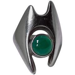 Georg Jensen Sterling Chrysoprase Henning Koppel designed Ring, C.1967