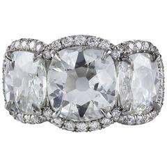 GIA Certified Three Stone Cushion Diamond Engagement Ring