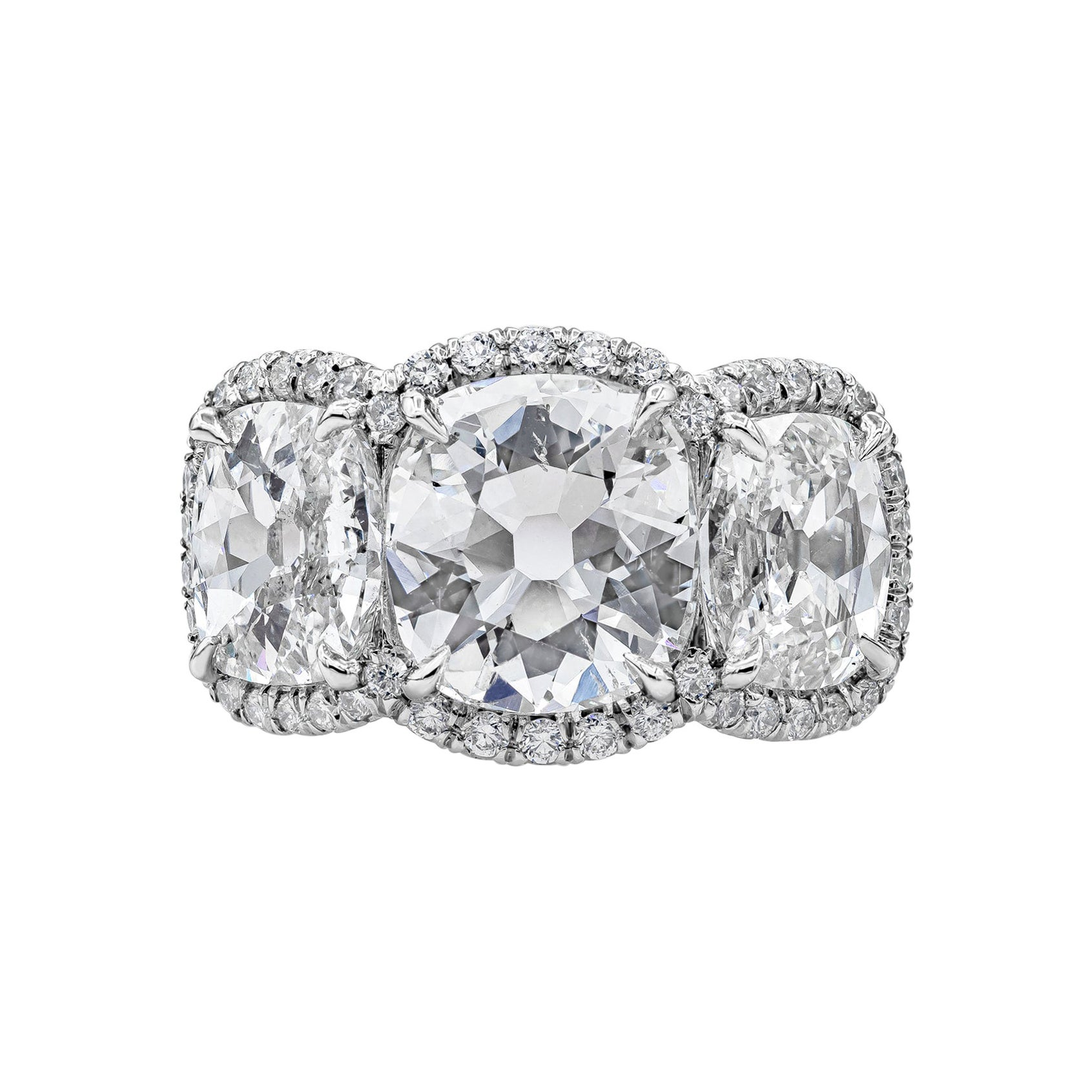GIA Certified Cushion Diamond Three-Stone Halo Engagement Ring