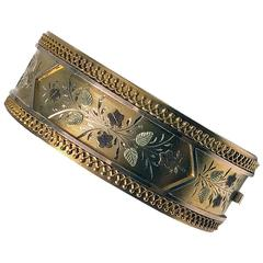 Fine Gold Etruscan Aesthetic Japonaiserie Bangle, C.1875