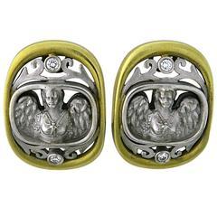 Kieselstein Cord Gold Diamond Angel In My Window Earrings