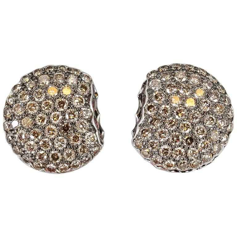 Boucheron Macaron Chocolate Diamond White Gold Stud Earrings