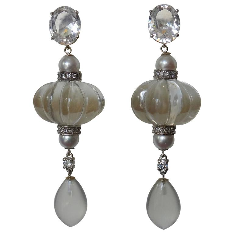 Michael Kneebone Sapphire Rock Crystal Moonstone Dangle Earrings