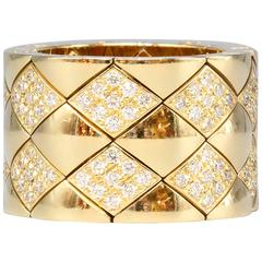 CHANEL Matelasse Diamond  Gold Flexible Wide Band Ring