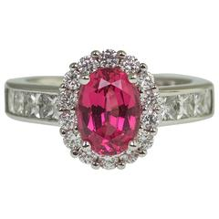 2.08 Carat Red Spinel Diamond Ring
