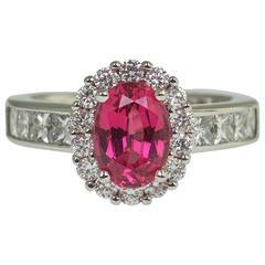 2.08 Carat Red Spinel Diamond Ring