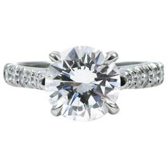 GIA Certified 2.01 Carat Diamond and Platinum Pave Engagement Ring
