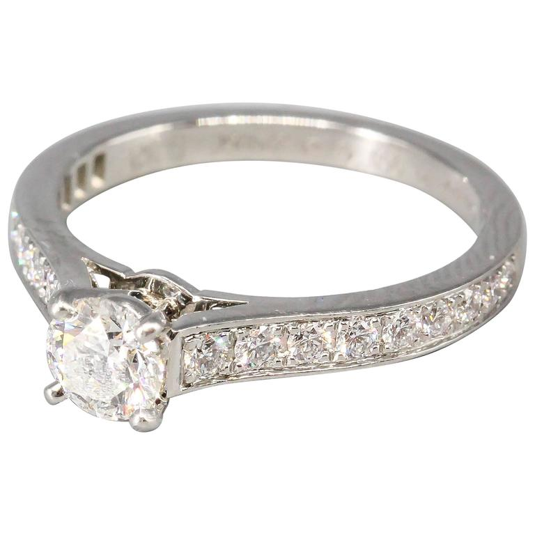 Cartier Diamond Platinum Engagement Ring For Sale