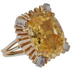 AGL Certified Natural No Heat 10.05 Carat Yellow Sapphire Diamond Gold Ring