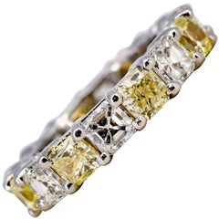Fancy Yellow and White Diamond Platinum Band