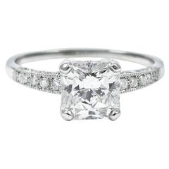 1.02 Carat Radiant Diamond Pave Platinum Ring GIA