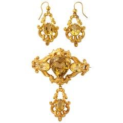 Scottish Victorian Citrine Gold Pendant Brooch Matching Earrings