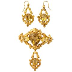 Scottish Victorian Citrine Gold  Pendant Brooch Matching Earrings