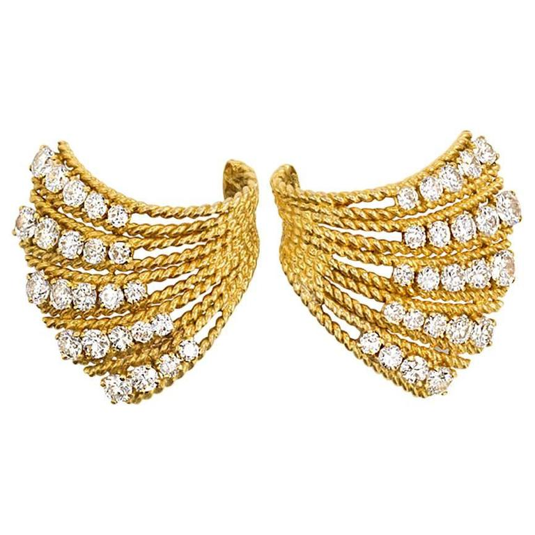 1950s Van Cleef & Arpels  Diamond Gold Earrings
