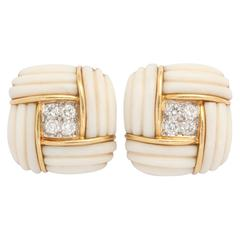 White Coral Diamond Gold Earclips