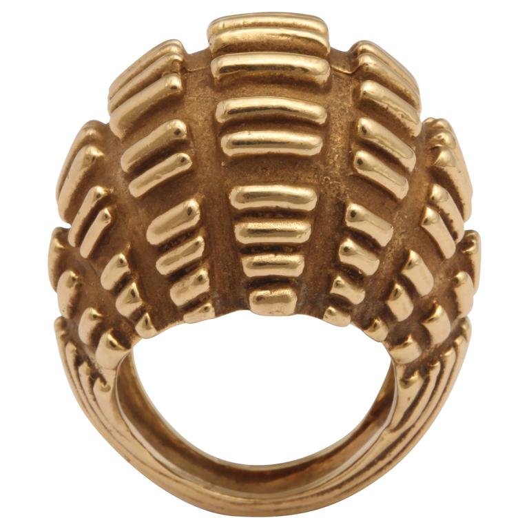 Modernist Bombe Yellow Gold Ring