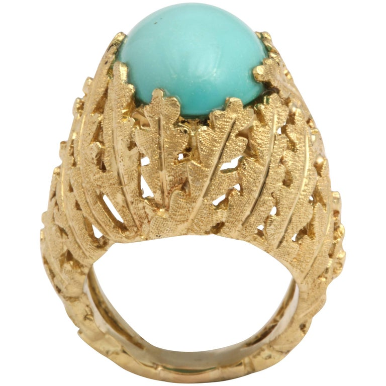 Turquoise and Gold Foliate Ring For Sale