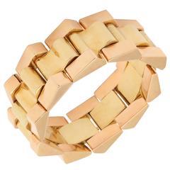 Fabulous Retro Two Color Gold Bracelet