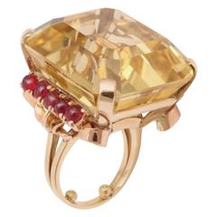 1940s Citrine Cabochon Ruby Rose Gold Ring