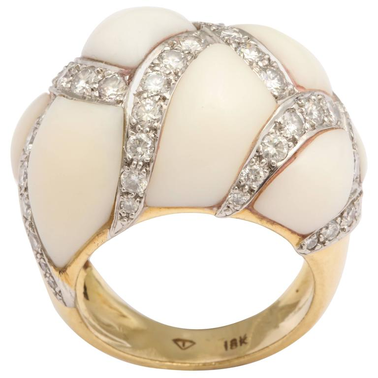 Angel Skin Coral Platinum and Diamond Ring For Sale
