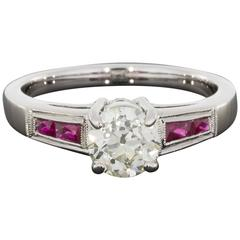 GIA Certified Old European Diamond  French Cut Ruby Engagement Ring