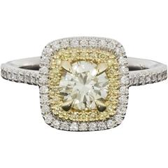 Fancy Canary Yellow Round Diamond Double Halo Engagement Ring