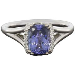 Certified Cushion Tanzanite  Diamond Wrap Ring