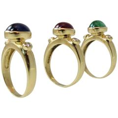 Set Of Three Gem Diamond Gold Rings