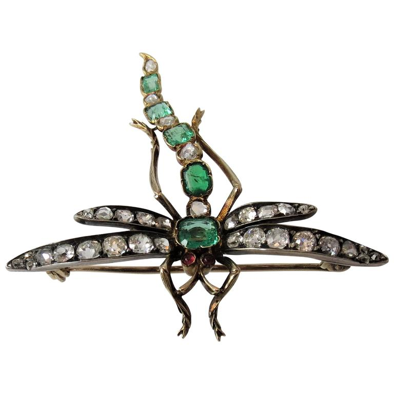 Emerald and Diamond Dragon Fly Pin
