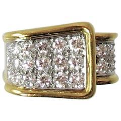 Montreaux Diamond   Yellow Gold Platinum Buckle Ring