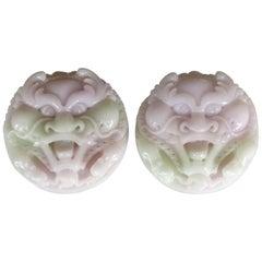 Magnificent Pair of Hand Carved Lavender Jadeite Masks