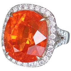 Sensational 37.75 Carat Cushion Cut Mandarin Garnet Diamond Ring