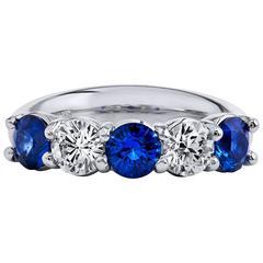 H & H 1.48 Carat Blue Sapphire and 0.70 Carat Diamond Band Ring
