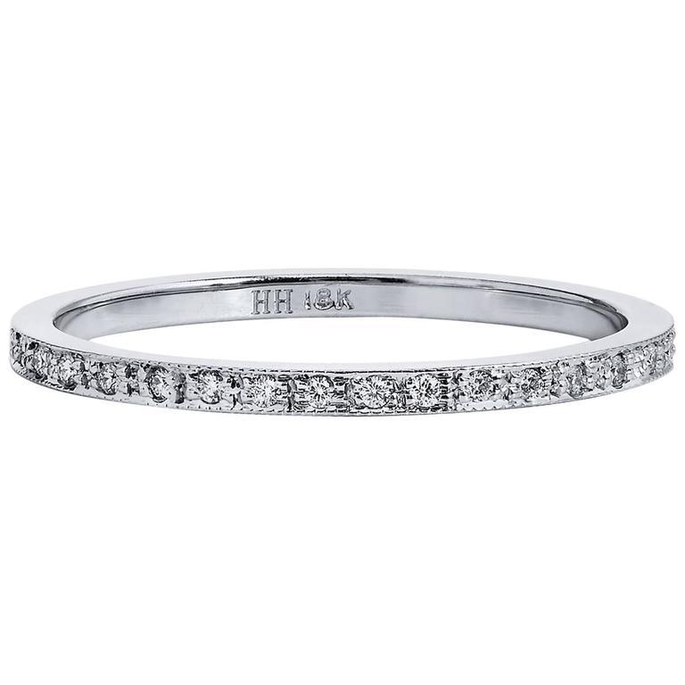 0.12 Carat Diamond 18 Karat White Gold Band Ring