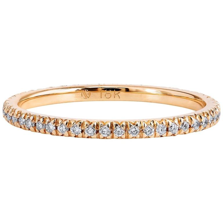 0.23 Carat Diamond 18 Karat Rose Gold Eternity Band Ring