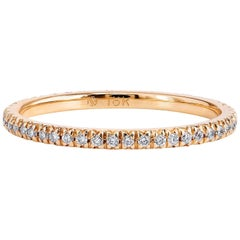 Handmade 18 Karat Rose Gold Eternity Band Ring 0.23 Carat Diamond