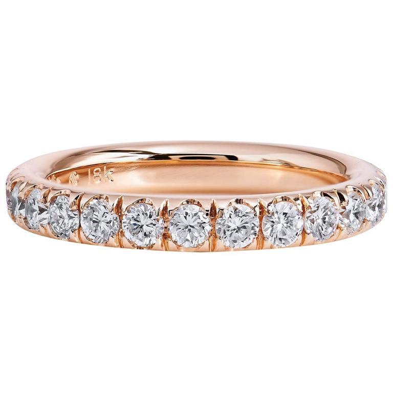 0.76 Carat Diamond 18 Karat Rose Gold Band Ring