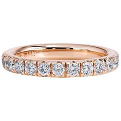 0.76 Carat Diamond 18 Karat Rose Gold Band Ring