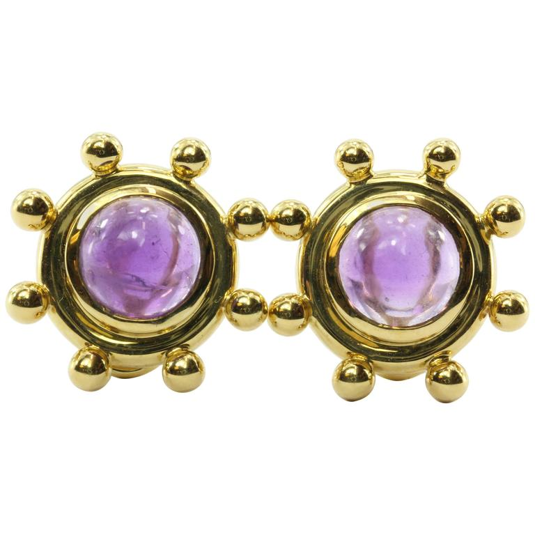 Rare Tiffany & Co. Paloma Picasso  Amethyst Gold Earrings