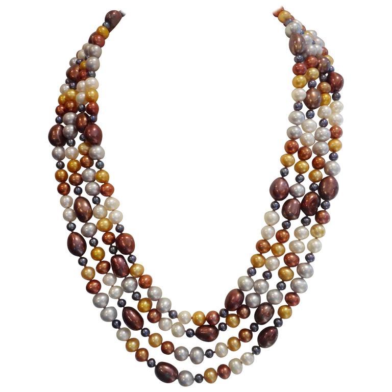 Michael Kneebone Four-Strand Multicolored Pearl Necklace For Sale