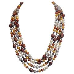 Michael Kneebone Four Strand Multi-Colored Pearl Necklace