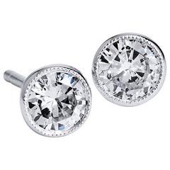 0.63 Carat Round Brilliant Cut Diamond Earrings