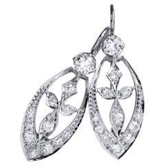 Stylized Flower 1.17 Carat Diamond Earrings
