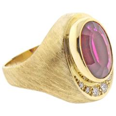 Burle Marx Rubellite Tourmaline and Diamond Ring