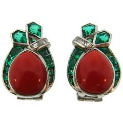 1950s Raymond Yard Coral Emerald Diamond Platinum Earrings