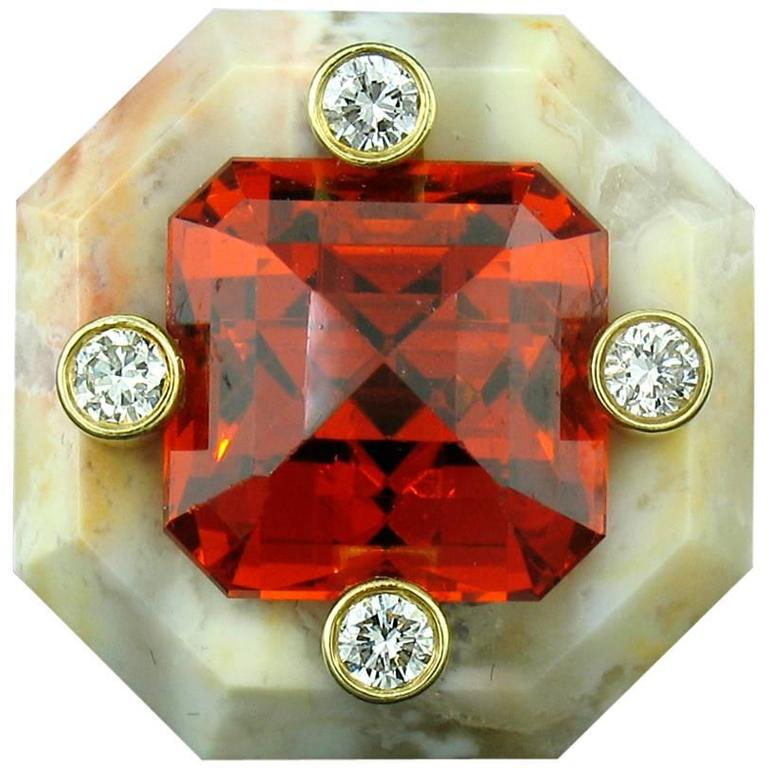 Nicholas Varney 15.55 Carat Spessartite Duo Diamond Gold  Ring For Sale